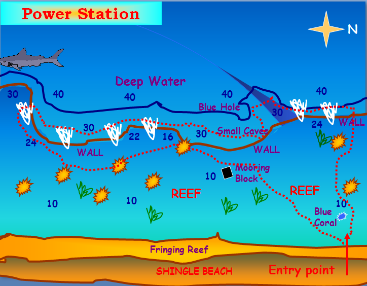 power station dive site map