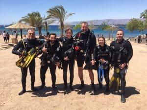 Big group of diver aqaba red sea