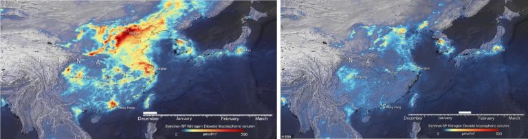 Satellite image showing air pollution