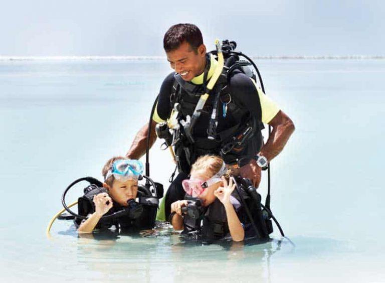 Diving for kids. beginner level