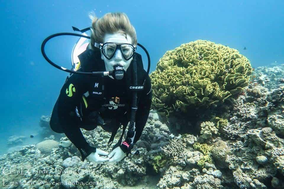 Diver at Japanese Gardens dive site Aqaba