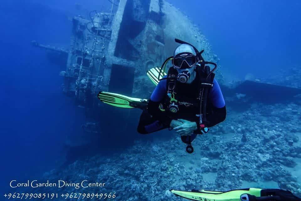 Diver at Cedar Pride shipwreck aqaba red sea